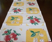Custom Order for Angie /Table Runner  Vintage Print Red Apples Cherries and Strawberries Yellow Table Runner