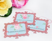 Gift Tags - Handmade Tags - Congratulations Title - Glittered Light Pink Frame - Set of 3