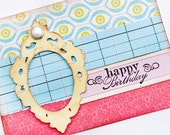 Romantic Card - Handmade Card - Birthday Greeting Card - Happy Birthday Card - Yellow Frame