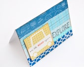 Travel Card - Handmade Card - Greeting Card - Explore Card - Card with Envelope - Green and Blue
