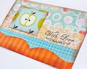 Apple Card - Handmade Card - Greeting Card - WITH LOVE Card - Aqua and Orange