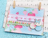 Pastel Card - Handmade Card - Congratulations Card - Baby Blue Baby Pink with Butterfly and Strawberries