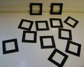 12 1.25 Inch Square Copper Frames Painted Black for Beading, Scrapping, Assemblage, etc.