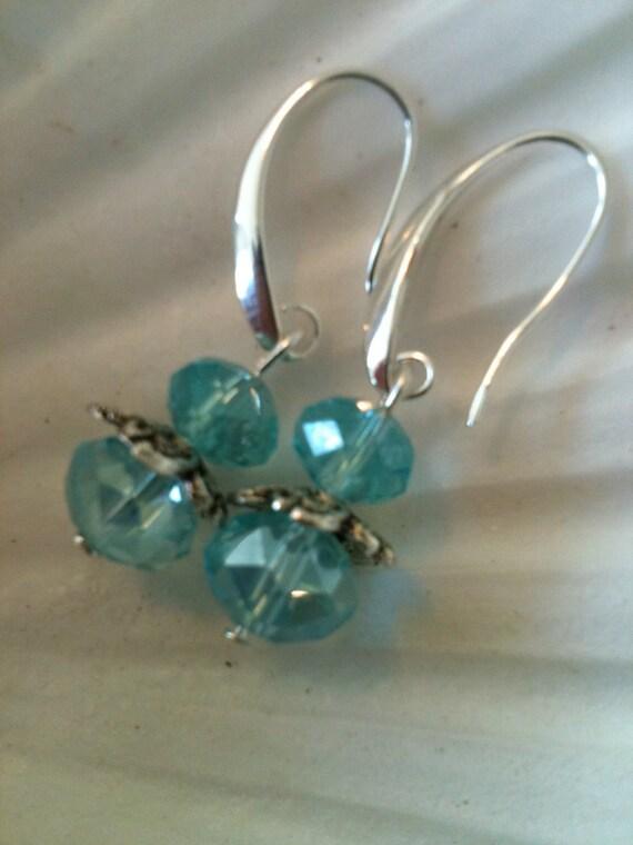 Silver Aqua Blue Swarovski Earrings