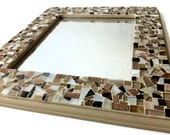 Mosaic Wall Mirror, Wall Art, Neutral Brown and Gold