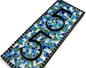 Blue and Green Address Sign, Custom Mosaic House Number Plaque