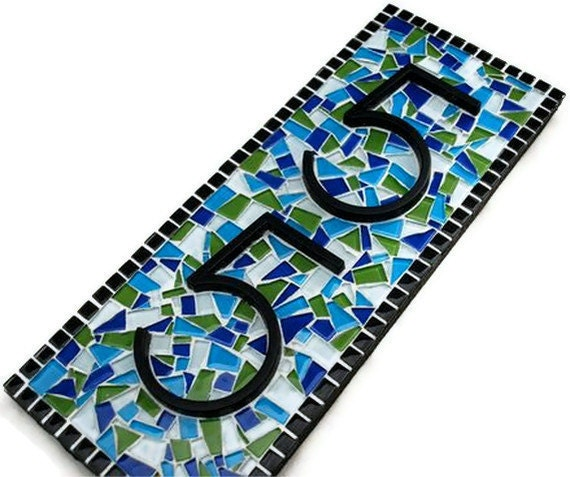 Blue and Green Address Sign, Custom Mosaic House Number Plaque, Vertical Address Sign