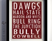 Mississippi State Subway Scroll Art Print