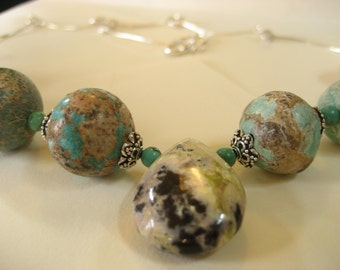 Turquoise, ryolite, hand made sterling silver chain necklace