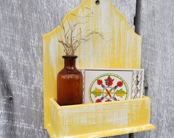 Hanging Wall Box Wall Pocket Small Organizer Yellow and White Antique Aged Finish Rustic Weathered Wooden