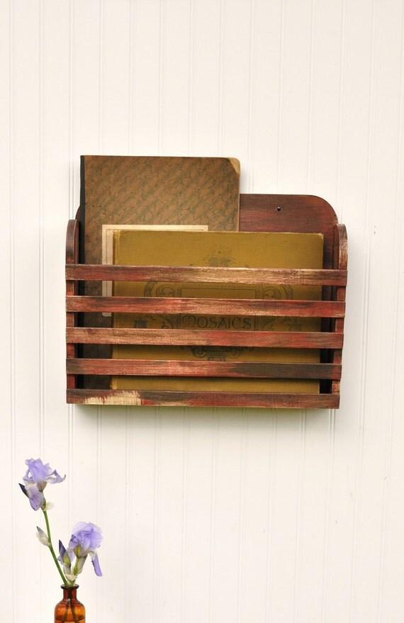 Rustic Hanging Magazine File Holder  Vintage Design Storage Organizer Aged Antiqued