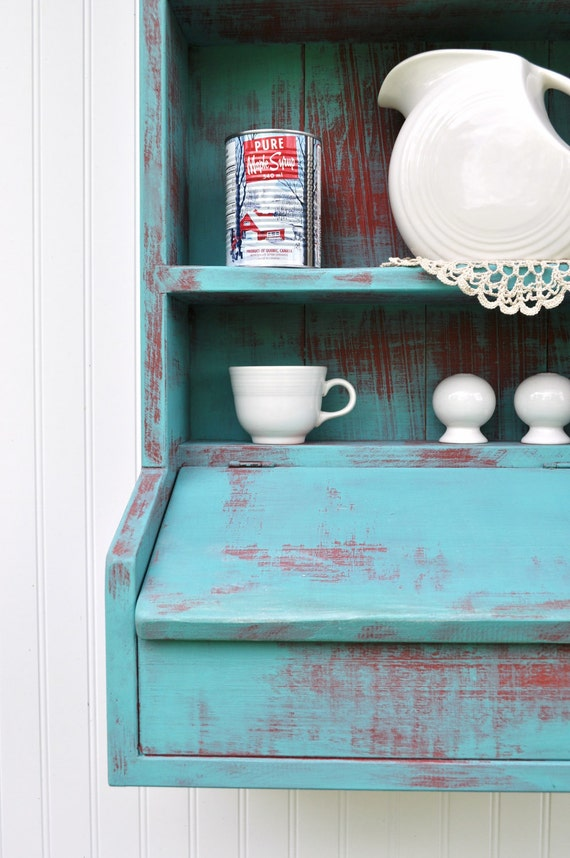 Rustic Hanging Secretary Wall Cabinet Shelves Aqua Turquoise Red Cubby Lidded Compartment Weathered Shelf Ready to Ship