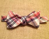 Pink and Navy Plaid Men's Adjustable Cotton Bowtie