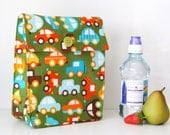 Lunch Bag: Green Cars - Washable Cotton Fabric