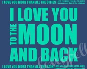 Customize Your Colors - I Love You More - I Love You To The Moon - 8 x 10 Modern Childrens Wall Art Typography Print