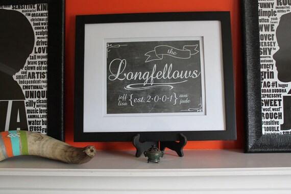 Custom Family Last Name Sign - Chalkboard Look Print - 11 x 14