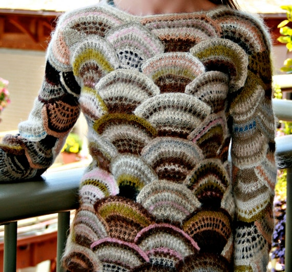 Patchwork Hand Knitted Women's Sweater