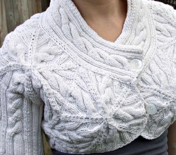 Knitted Cotton Cable Bolero jacket