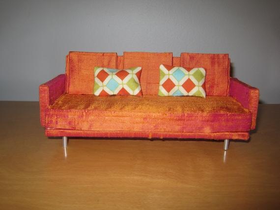 Midcentury Modern Miniature Sofa in Orange Silk