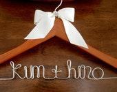 Cherry Wood - Personalized Wedding Hanger w/ Ribbon
