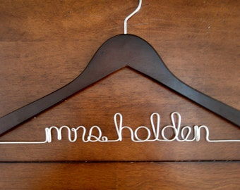 Dark Walnut Personalized Wedding Hanger