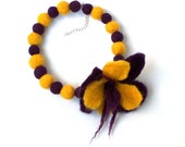 Natural wool felted ball necklace in yellow and violet balls and flower