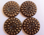 Large Victorian Metal Buttons, Lot of Four