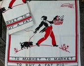 "Black Americana Towel Pair ""To Market, To Market..."" Anne Orr"