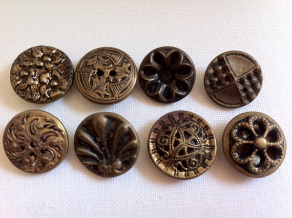 Small Victorian Metal Buttons, Twinkle Backs, Lot of Eight