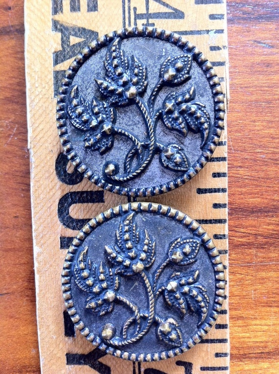 Victorian Button Pair, Large Floral Metal Buttons, 32 mm