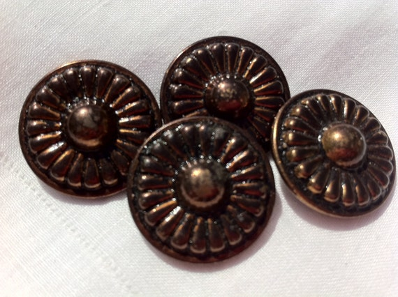 Four Large Metal Victorian Buttons, Flowers