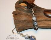 Handcrafted Sodalite Silver Dangle Earrings Petroglyph Inspired