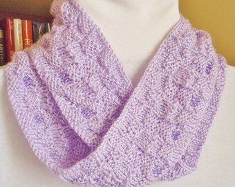 Four Square Moebius Scarf w/Bead Accents in Lilac