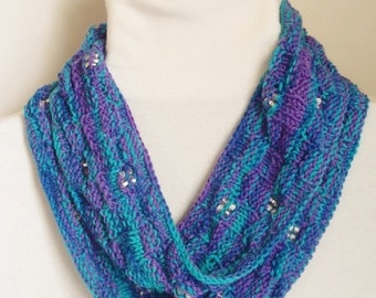 Moebius Scarf, Four Square in Teal/Blue/Purple
