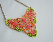 Upcycled Vintage Hand Painted Neon Necklace - Pink Orange and Yellow - was 49 - twitter sale