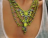 Vintage 1950s One Of A Kind Hand Painted 3 Strand Bold Neon Yellow Rhinestone Necklace - Made To Order