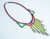 Vintage 1950s One Of A Kind Hand Painted Colorful Neon Bib Necklace