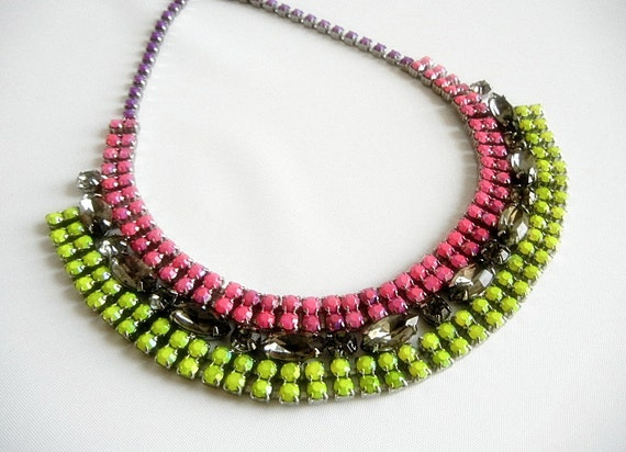 Vintage 1950s One Of A Kind Hand Painted Neon Pink Purple and Yellow Rhinestone Bib Necklace