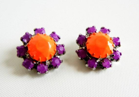 Vintage 1950s Hand Painted Neon Orange and Purple Rhinestone Earrings