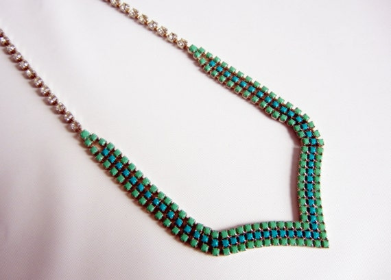 Vintage 1950s One Of A Kind Hand Painted Mint Green and Aqua Rhinestone Necklace