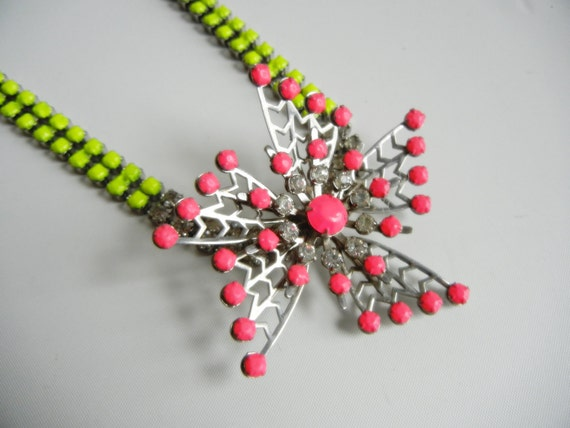 Vintage 1950s One Of A Kind Hand Painted Neon Yellow and Pink Rhinestone Starburst Necklace SALE was 75