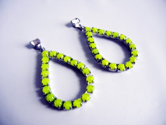 Vintage 1950s Hand Painted Neon Yellow Rhinestone Earrings