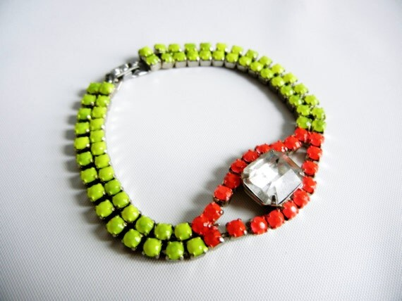 Vintage 1950s One Of A Kind Hand Painted Neon Red and Neon Yellow Rhinestone Bracelet