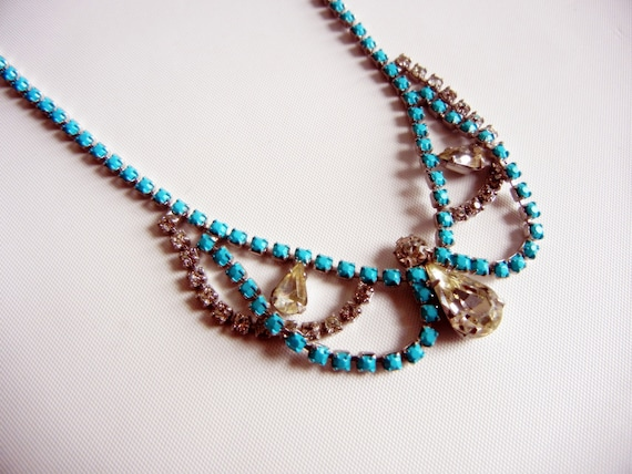 Vintage 1950s One Of A Kind Hand Painted Turquoise Rhinestone Necklace