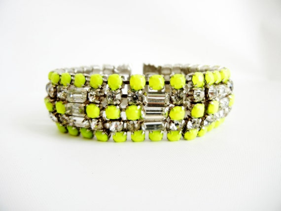 Vintage 1950s One Of A Kind Hand Painted Neon Yellow Bold  Rhinestone Bracelet