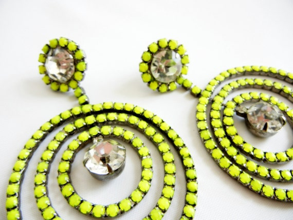 The Most Amazing Earrings Ever - Vintage 1950s One Of A Kind Neon Yellow Earrings