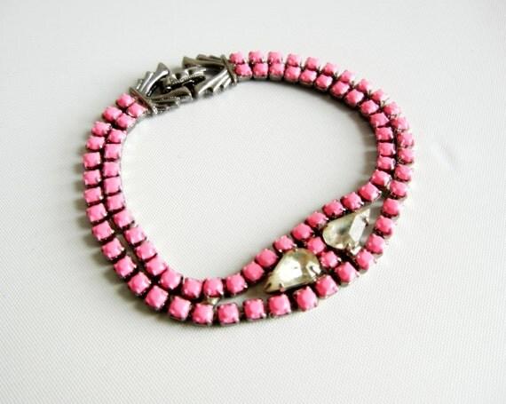 Vintage 1950s One Of  A Kind Hand Painted Neon Pink Rhinestone Bracelet