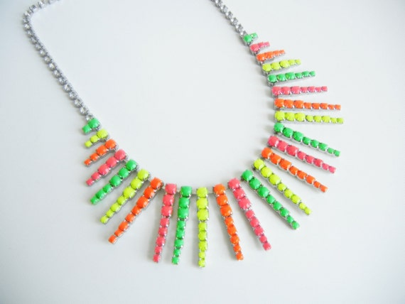 Vintage One Of A Kind Hand Painted Multi Colored Neon Rhinestone Necklace