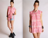 Studded Pink Flannel Button Up Tunic