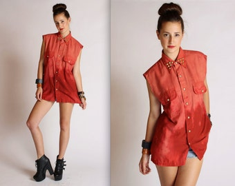 Studded Brick Acid Wash Button Up Tunic Top